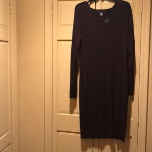 Merlot color knit dress with  black undertones.